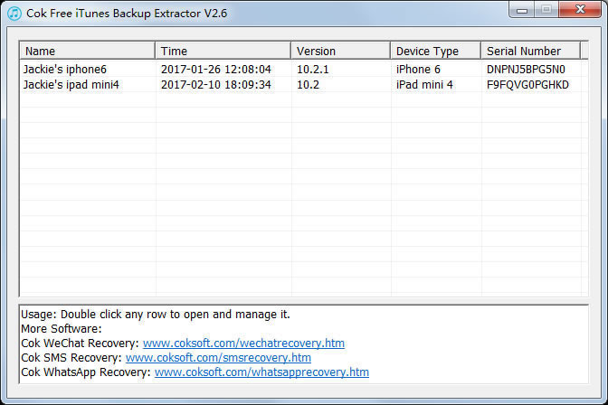 Cok Free iTunes Backup Extractor Screen shot